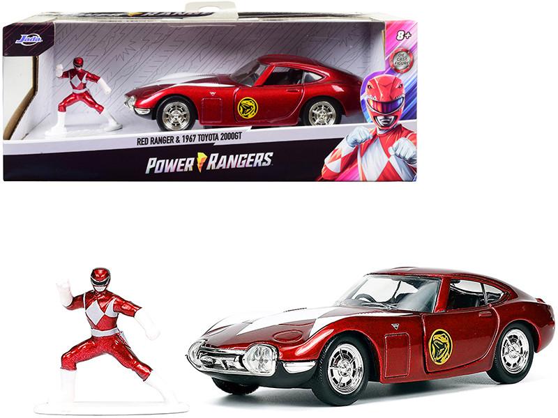 1967 Toyota 2000GT RHD Right Hand Drive Red Metallic Red Ranger Diecast Figurine Power Rangers Hollywood Rides Series 1/32 Diecast Model Car Jada 33074