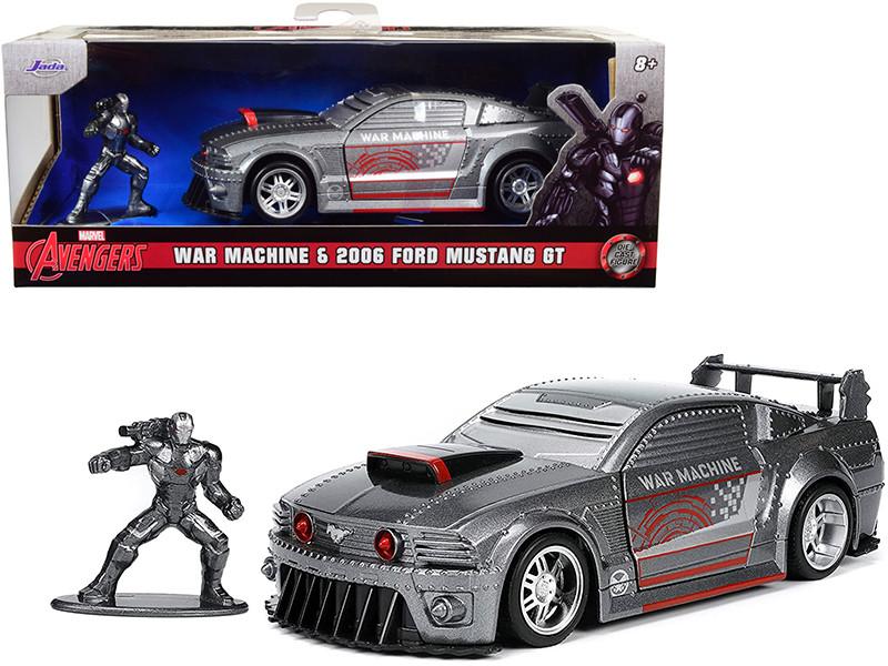 2006 Ford Mustang GT Gray Metallic War Machine Diecast Figurine Avengers Marvel Series Hollywood Rides Series 1/32 Diecast Model Car Jada 33082