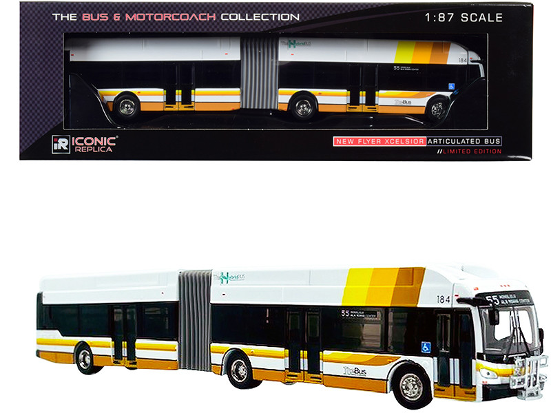 New Flyer Xcelsior XN60 Articulated Bus The Hybrid #55 Ala Moana Center The Bus City and County of Honolulu Hawaii White with Stripes The Bus & Motorcoach Collection 1/87 HO Diecast Model Iconic Replicas 87-0305