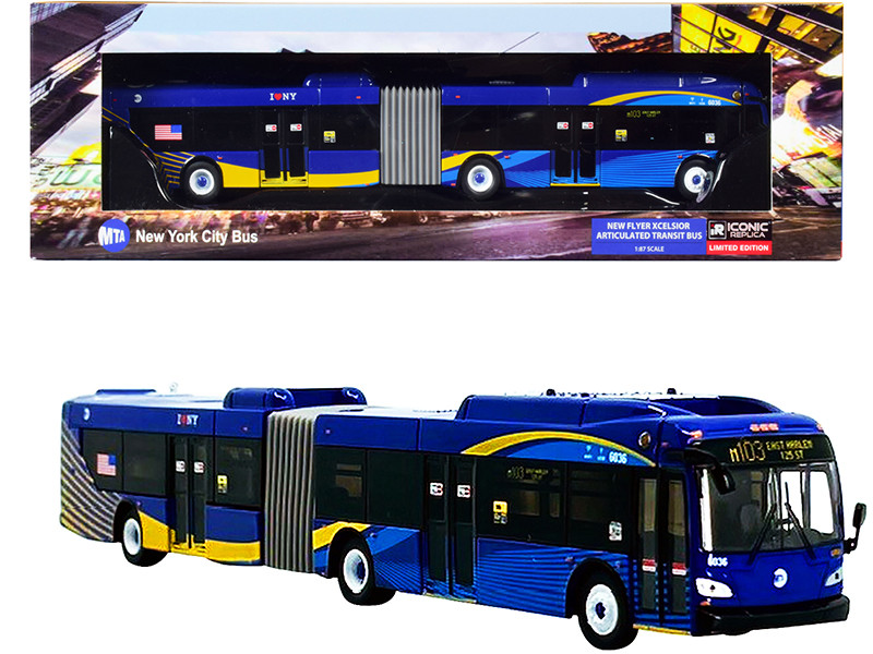 New Flyer Xcelsior XD60 Articulated Bus #M103 East Harlem 125 St. MTA New York City Bus Blue with Stripes 1/87 HO Diecast Model Iconic Replicas 87-0307