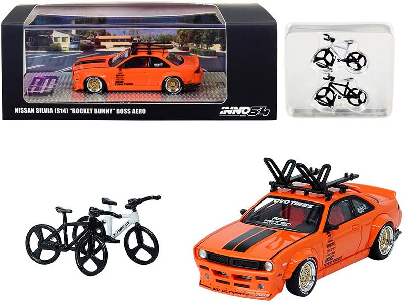 Nissan Silvia S14 Rocket Bunny Boss Aero Orange Roof Rack 2 Bicycles 1/64 Diecast Model Car Inno Models IN64-S14B-SEMA15