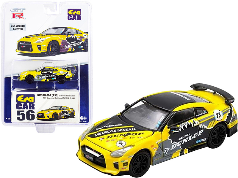 Nissan GT-R R35 RHD Right Hand Drive #73 Yellow with Graphics Dunlop Simola Hillclimb 1st Special Edition Limited Edition 1200 pieces 1/64 Diecast Model Car Era Car NS21GTRRF56