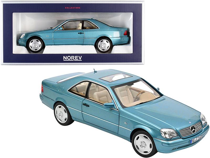 1997 Mercedes Benz CL600 Coupe Sunroof Light Blue Metallic 1/18 Diecast Model Car Norev 183448