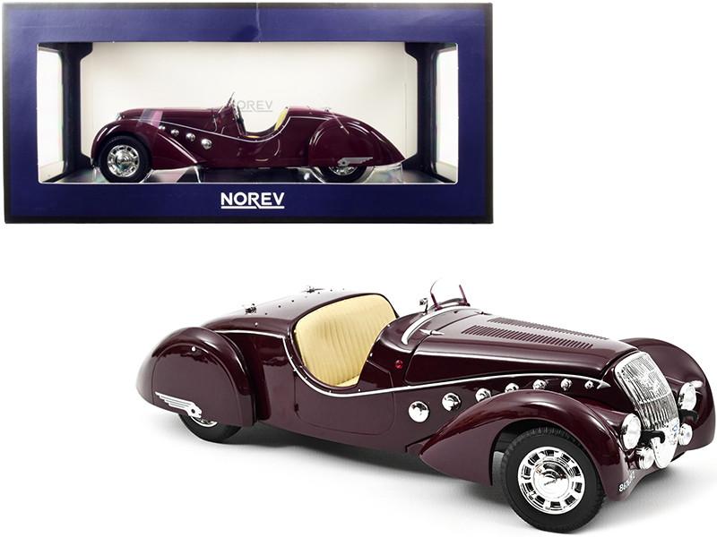 1937 Peugeot 302 Darl'mat Roadster Dark Red 1/18 Diecast Model Car Norev 184695