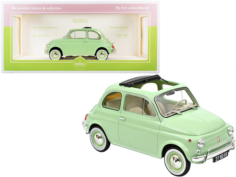 1968 Fiat 500L Light Green Special BIRTH Packaging My First Collectible Car 1/18 Diecast Model Car Norev 187773