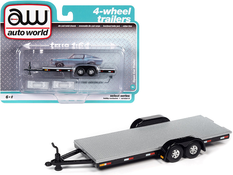 4-Wheel Open Car Trailer Silver 1/64 Diecast Model Autoworld AWSP071 A