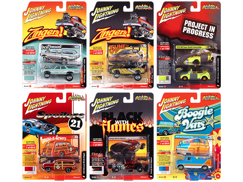 Street Freaks 2021 Set A of 6 Cars Release 2 1/64 Diecast Model Cars Johnny Lightning JLSF020 A
