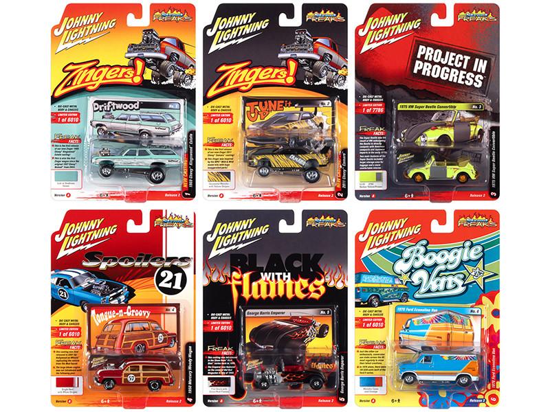 Street Freaks 2021 Set B of 6 Cars Release 2 1/64 Diecast Model Cars Johnny Lightning JLSF020 B