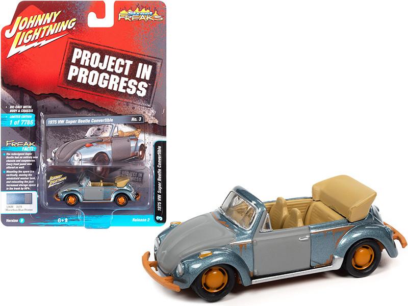 1975 Volkswagen Super Beetle Convertible Marathon Blue Metallic Primer Gray Rusted Version Project in Progress Street Freaks Series Limited Edition 7786 pieces Worldwide 1/64 Diecast Model Car Johnny Lightning JLSF020 JLSP145 B