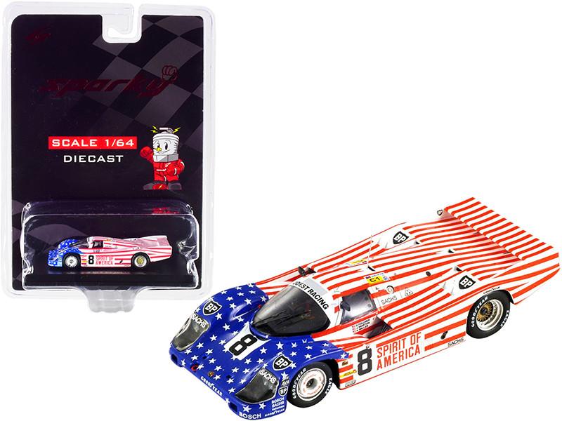 Porsche 956 #8 Follmer Morton Miller Spirit of America 3rd Place 24 Hours Le Mans 1986 1/64 Diecast Model Car Sparky Y176B