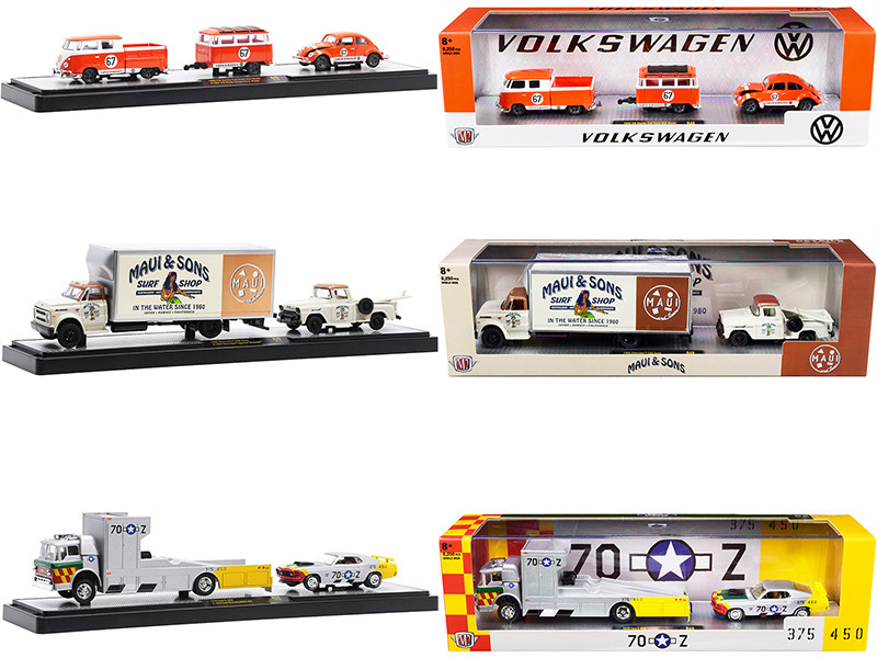 Auto Haulers Set of 3 Trucks Release 48 Limited Edition 8250 pieces Worldwide 1/64 Diecast Models M2 Machines 36000-48