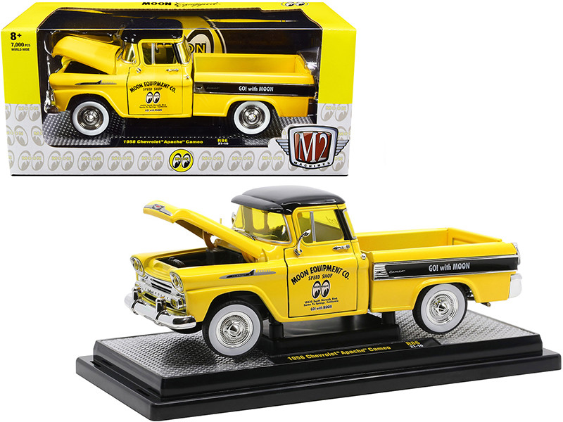 1958 Chevrolet Apache Cameo Pickup Truck Mooneyes Yellow Black Limited Edition 7000 pieces Worldwide 1/24 Diecast Model Car M2 Machines 40300-86 B