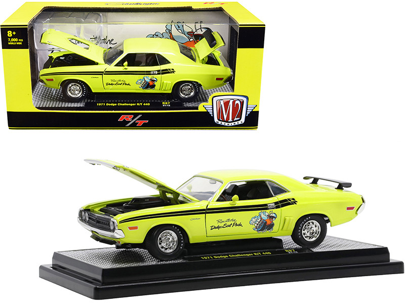 1971 Dodge Challenger R/T 440 Scat Pack Citron Yellow Black Stripes and Graphics Limited Edition 7000 pieces Worldwide 1/24 Diecast Model Car M2 Machines 40300-87 B