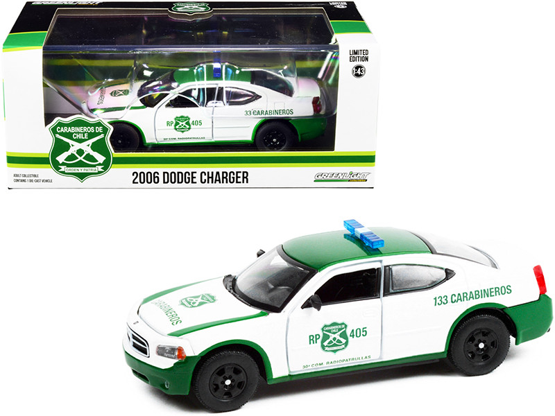 2006 Dodge Charger Police Car White Green Carabineros de Chile 1/43 Diecast Model Car Greenlight 86605