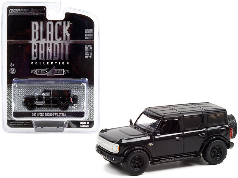 2021 Ford Bronco Wildtrak Black Black Bandit Series 25 1/64 Diecast Model Car Greenlight 28070 F
