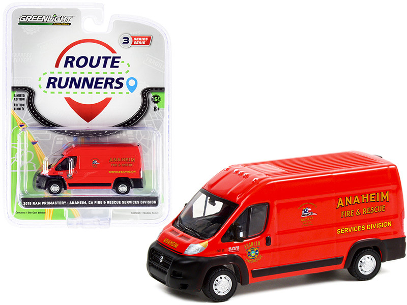 2018 Ram ProMaster 2500 Cargo High Roof Van Red Anaheim Fire & Rescue Services Division California Route Runners Series 3 1/64 Diecast Model Greenlight 53030 D