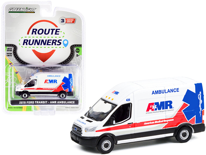 2019 Ford Transit LWB High Roof Van Ambulance White AMR American Medical Response Route Runners Series 3 1/64 Diecast Model Greenlight 53030 F