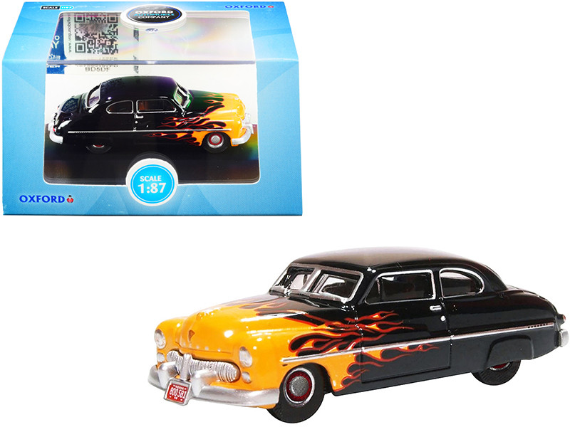 1949 Mercury Coupe Hot Rod Black Yellow with Flames 1/87 HO Scale Diecast Model Car Oxford Diecast 87ME49009