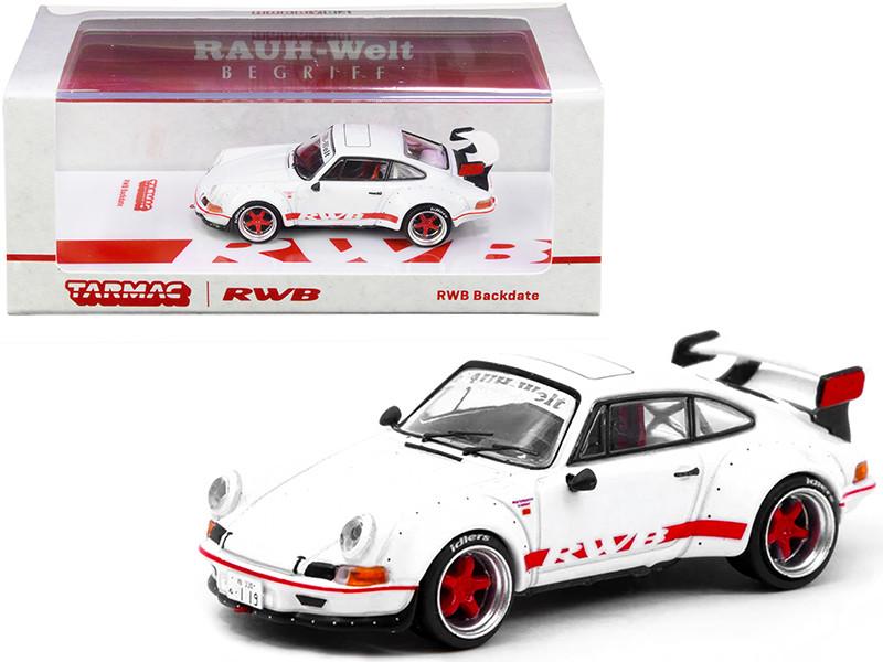 Porsche RWB Backdate White Red Stripes 1/64 Diecast Model Car Tarmac Works T64-046-WH
