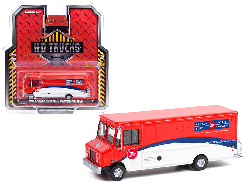 2019 Mail Delivery Vehicle Canada Post Red White Blue Stripes HD Trucks Series 21 1/64 Diecast Model Greenlight 33210 C