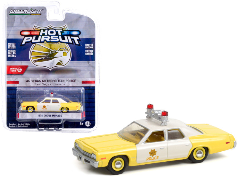 1974 Dodge Monaco Yellow and White Las Vegas Metropolitan Police Department Nevada Hot Pursuit Series 38 1/64 Diecast Model Car Greenlight 42960 A