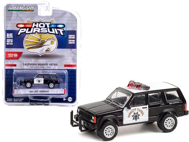 1993 Jeep Cherokee Black and White CHP California Highway Patrol California Hot Pursuit Series 38 1/64 Diecast Model Car Greenlight 42960 B