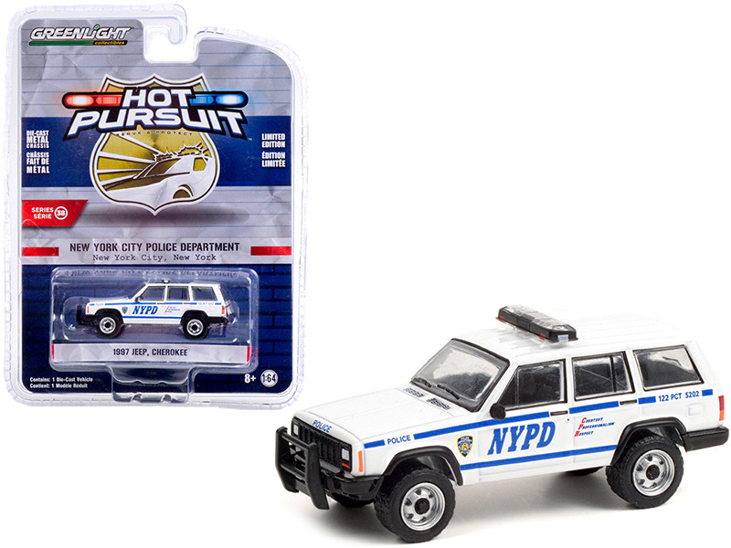 1997 Jeep Cherokee White Blue Stripes NYPD New York City Police Dept New York Hot Pursuit Series 38 1/64 Diecast Model Car Greenlight 42960 C