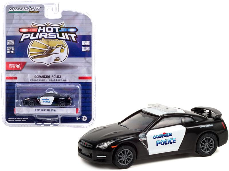 2015 Nissan GT-R Black White Oceanside Police California Hot Pursuit Series 38 1/64 Diecast Model Car Greenlight 42960 D