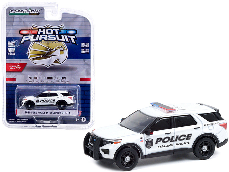 2020 Ford Police Interceptor Utility White Sterling Heights Police Michigan Hot Pursuit Series 38 1/64 Diecast Model Car Greenlight 42960 E