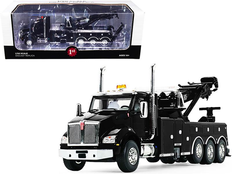 Kenworth T880 with Century Model 1060 Rotator Wrecker Tow Truck Black 1/50 Diecast Model First Gear 50-3464