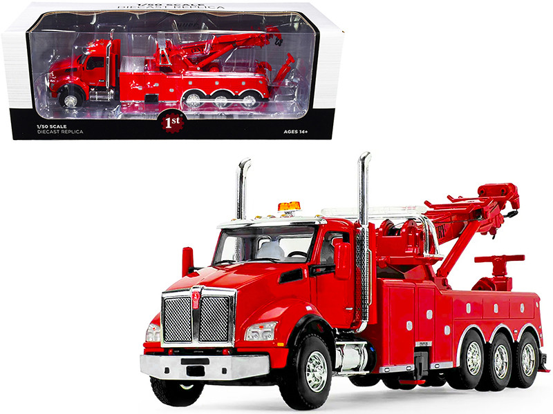 Kenworth T880 with Century Model 1060 Rotator Wrecker Tow Truck Viper Red 1/50 Diecast Model First Gear 50-3465