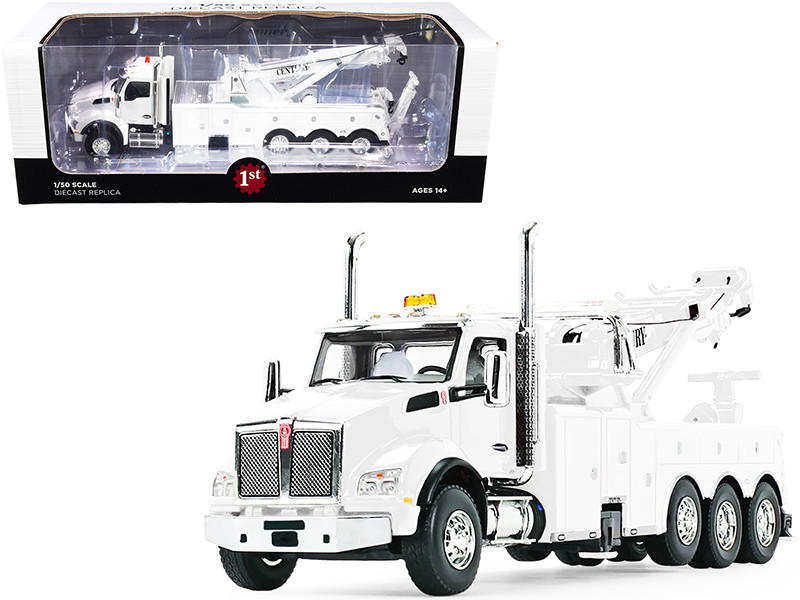 Kenworth T880 with Century Model 1060 Rotator Wrecker Tow Truck White 1/50 Diecast Model First Gear 50-3467