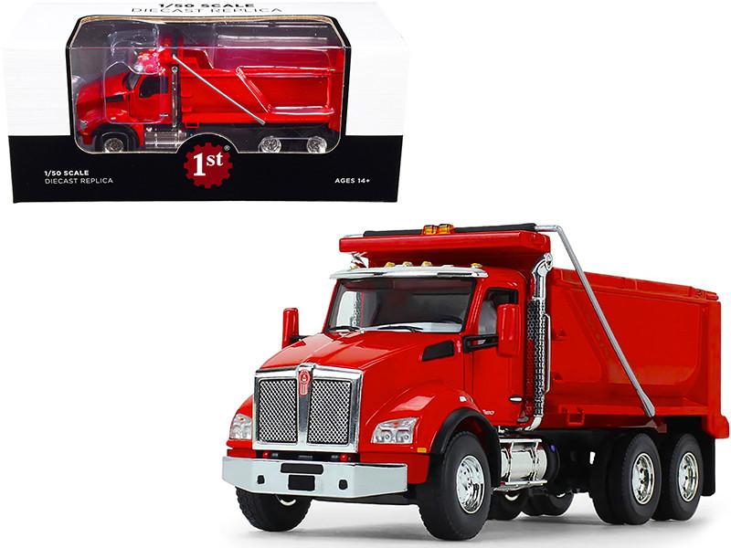 Kenworth T880 Dump Truck Viper Red 1/50 Diecast Model First Gear 50-3469
