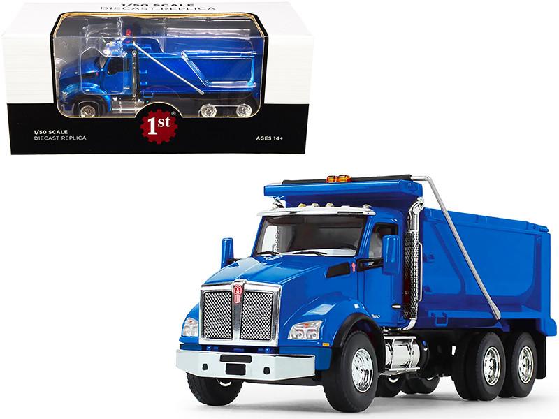 Kenworth T880 Dump Truck Surf Blue Metallic 1/50 Diecast Model First Gear 50-3470