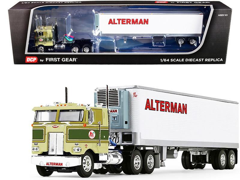 "Peterbilt 352 COE 86"" Sleeper Cab Green Vintage 40' Reefer Refrigerated Trailer Alterman Transport Lines 27th Fallen Flags Series 1/64 Diecast Model DCP/First Gear 60-1086"