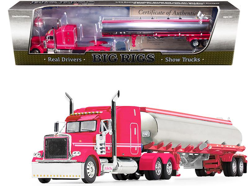"Peterbilt Model 379 63"" Mid-Roof Sleeper Cab Pink Heil Fuel Tanker Trailer J. Cool Inc 5th Big Rigs Series 1/64 Diecast Model DCP/First Gear 69-1001"