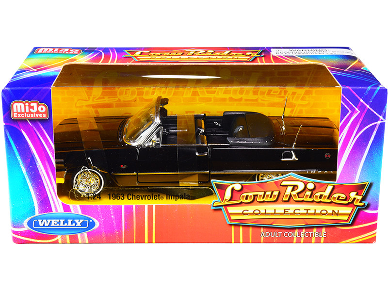 1963 Chevrolet Impala SS Convertible Black Low Rider Collection 1/24 Diecast Model Car Welly 22434