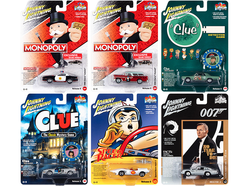 Pop Culture 2021 Set of 6 Cars Release 2 1/64 Diecast Model Cars Johnny Lightning JLPC004