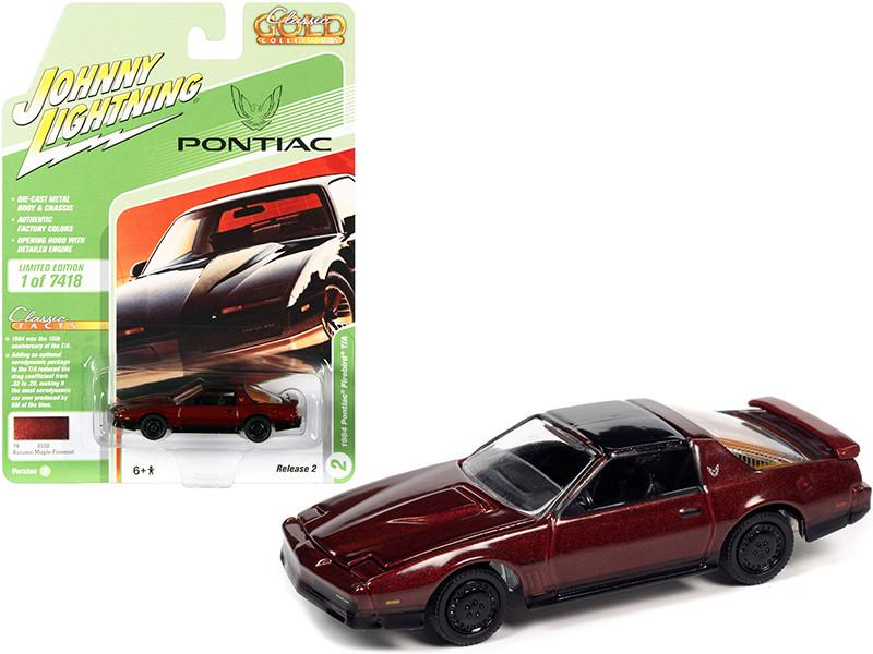1984 Pontiac Firebird Trans Am T/A Autumn Maple Firemist Red Metallic Black Top Classic Gold Collection Series Limited Edition 7418 pieces Worldwide 1/64 Diecast Model Car Johnny Lightning JLCG025-JLSP148 B