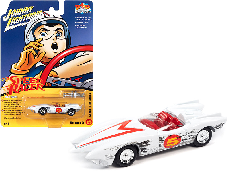 Speed Racer Mach 5 White Race Worn Version Auto Jacks Pop Culture Series 1/64 Diecast Model Car Johnny Lightning JLPC004-JLSP159