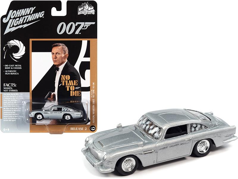 Aston Martin DB5 Silver Birch Damaged Version James Bond 007 No Time To Die 2021 Movie Pop Culture Series 1/64 Diecast Model Car Johnny Lightning JLPC004-JLSP160