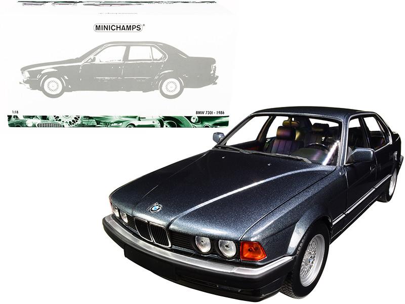 1986 BMW 730i E32 Dark Gray Metallic 1/18 Diecast Model Car Minichamps 100023005
