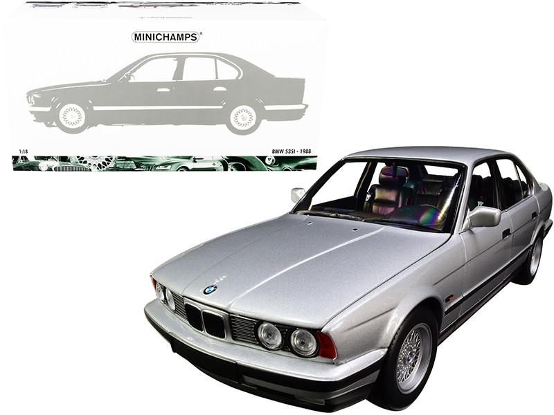 1988 BMW 535i E34 Silver Metallic 1/18 Diecast Model Car Minichamps 100024005