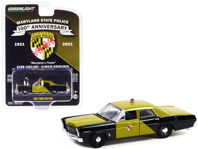 1967 Ford Custom Green Black Maryland State Police Maryland State Police 100th Anniversary 1921 2021 Anniversary Collection Series 13 1/64 Diecast Model Car Greenlight 28080 A