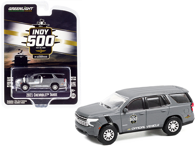 2021 Chevrolet Tahoe Gray Official Vehicle 105th Running of the Indianapolis 500 2021 Anniversary Collection Series 13 1/64 Diecast Model Car Greenlight 28080 E