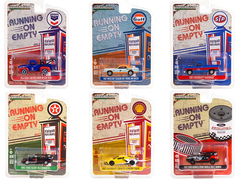 Running on Empty 6 piece Set Series 13 1/64 Diecast Model Cars Greenlight 41130