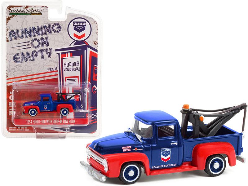1954 Ford F-100 Tow Truck Drop-in Tow Hook Standard Oil Blue Matt Red Running on Empty Series 13 1/64 Diecast Model Car Greenlight 41130 A