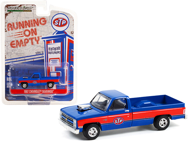 1987 Chevrolet Silverado Pickup Truck Blown Engine STP Blue Red Stripes Running on Empty Series 13 1/64 Diecast Model Car Greenlight 41130 C