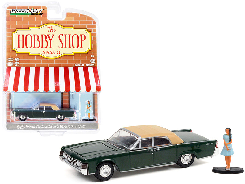 1965 Lincoln Continental Spanish Moss Green Tan Top Woman in a Dress Figurine The Hobby Shop Series 11 1/64 Diecast Model Car Greenlight 97110 B