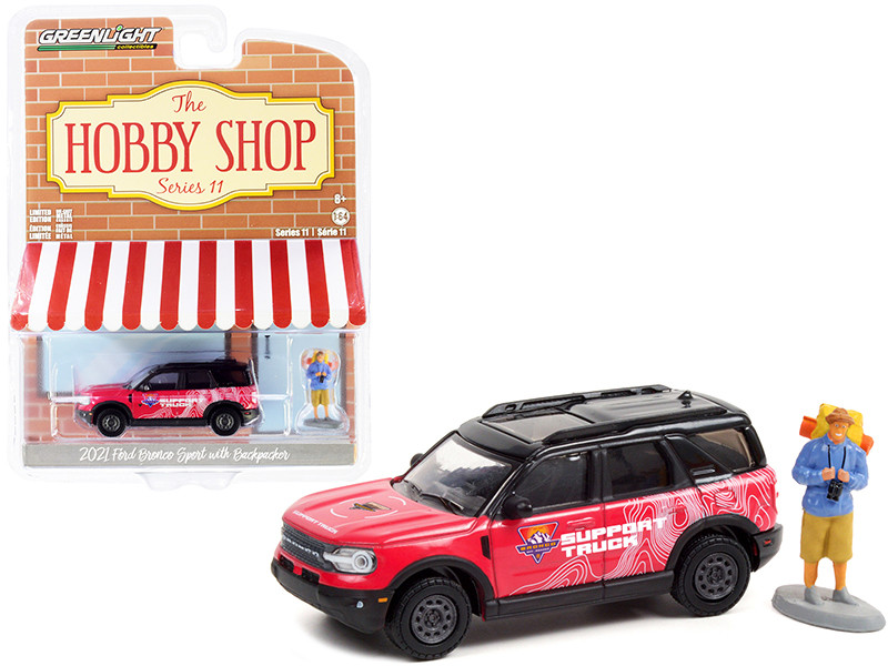 2021 Ford Bronco Sport Pink Black Off-Roadeo Adventure Support Truck Backpacker Figurine The Hobby Shop Series 11 1/64 Diecast Model Car Greenlight 97110 F